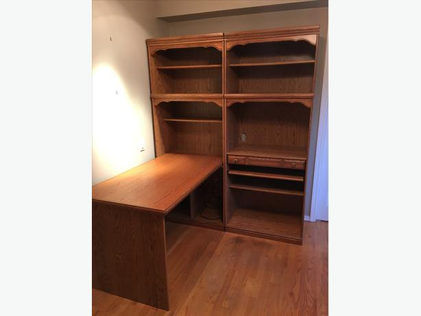 Oak wall unit/desk