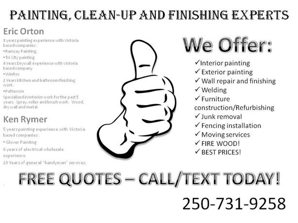 Painting, Drywall, Junk removal, firewood and finishing services