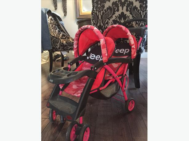 "Baby doll double seated ""jeep"" stroller."
