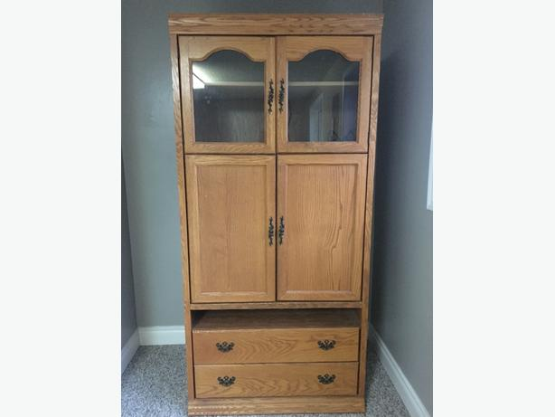 oak coloured cabinet