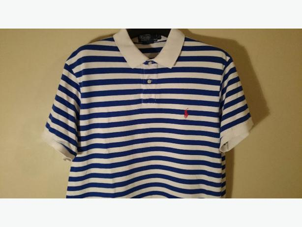 Ralph Lauren POLO SHIRT *XL* Custom Fit BLUE & WHITE STRIPES buy