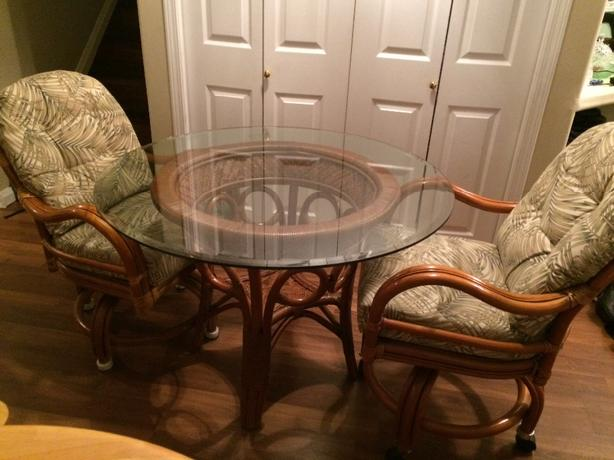Rattan Table & 2 Chairs
