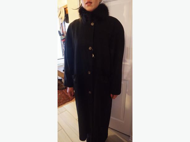 4U2C VINTAGE BLACK WOOL COAT LEATHER TRIM & FUR COLLAR SIZE 7/8