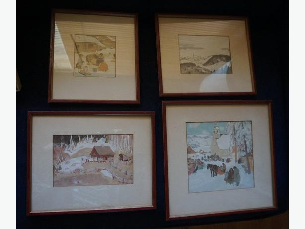 4U2C VINTAGE SET OF 4 RED FRAMED VINTAGE PRINTS