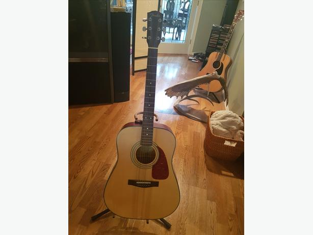Fender 6 string acoustic guitar and squier amp plus accessories