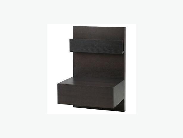 Ikea Black Malm Floating Bedside Tables W Bracket Saanich