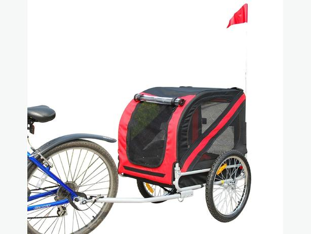 PawHut Pet Trailer Bike Bicycle Dog Cat Carrier w/ Drawbar Hitch High Quality