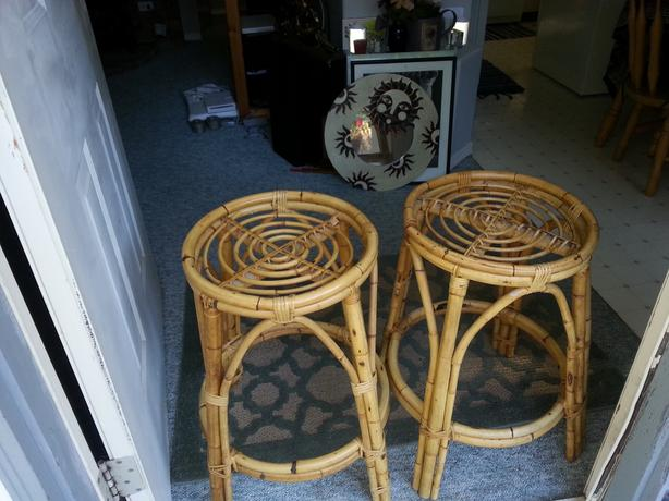 two unique rattan stools
