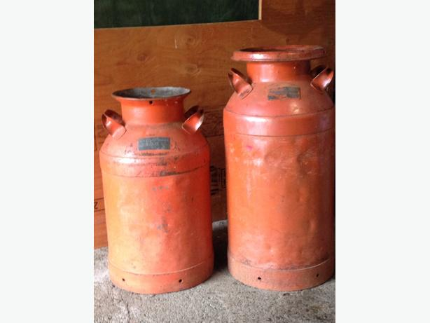 2 antique milk cans