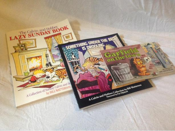 Calvin and Hobbes Books plus Garfield Book