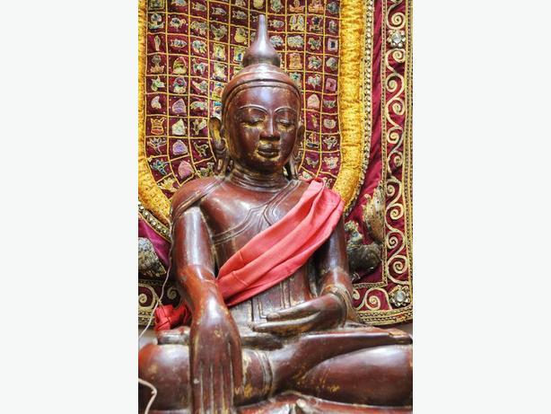 Large antique carved stone Buddha