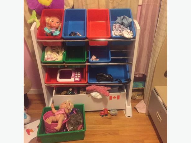 10 bin toy organizer with bottom rolling basket