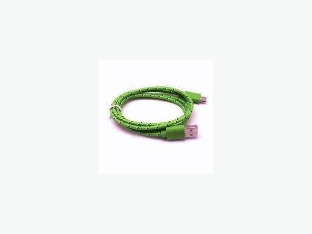 1m (3 ft) Braided Micro USB to USB Sync Charge Cable - Green