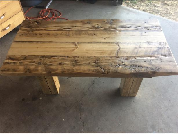 100 year old reclaimed wood coffee table