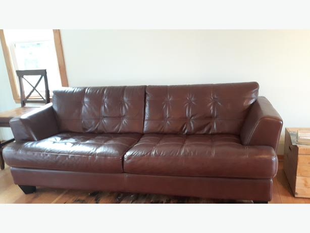 Brown Pleather Couch & Chair -Obo