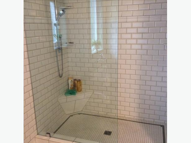 Thick Clear Shower Glass Panel.