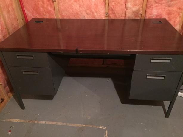 Grey and Black metal base desk