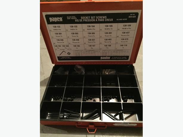 Allen key and grub screw set w/ orange metal case