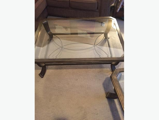 glass and metal coffee and end table
