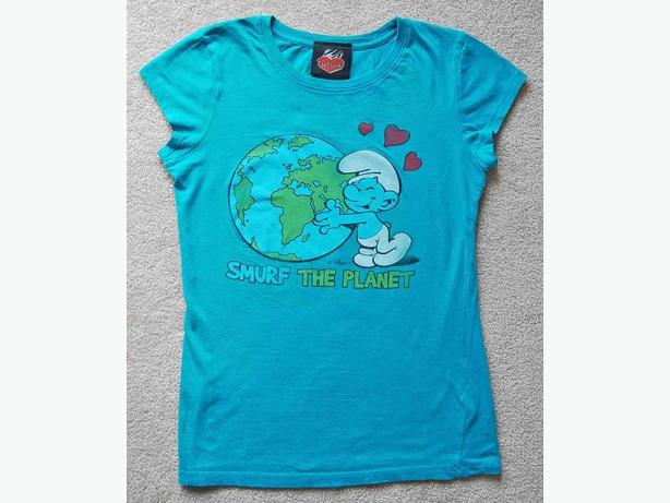 SMURF THE PLANET Earth Hug Womens Med/Small. Teal Blue Turquoise