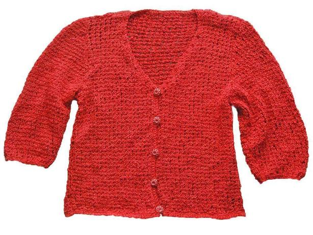 NEW Women's Sz S/M, HAND KNIT/CROCHET RED SWEATER CARDIGAN, 3/4 sleeve, RETRO