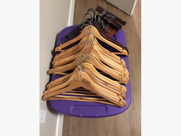Huge lot of wooden hangers