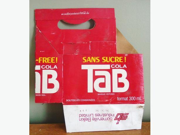 Vintage TAB Soda Pop Product of COCA-COLA Cardboard Bottle Case