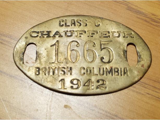 1942 & 1945 British Columbia Chauffeur Badges / Tags Canada