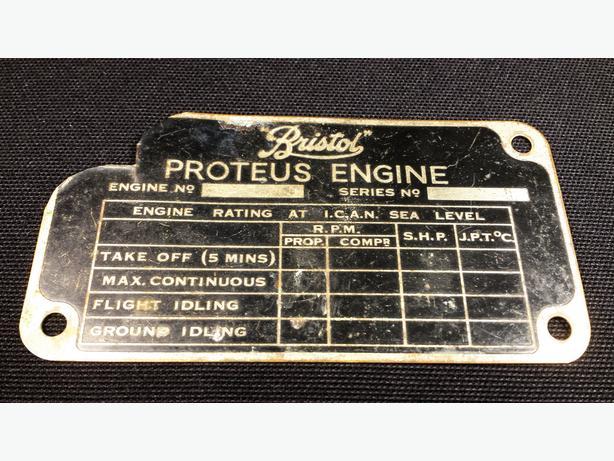 Vintage Bristol Proteus Aircraft Engine Plates