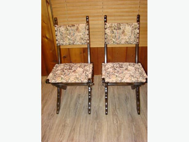 Two Wooden Framed Upholstered Dining Chairs $60 each