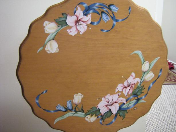 "TILT TOP TABLE OR watercolor ""Geraniums"" Hand painted"