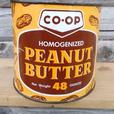 Vintage 1970's CO-OP PEANUT BUTTER Tin w/ Peanut Graphics #1