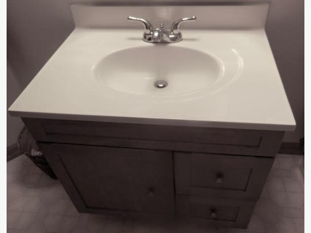30 white cultured marble vanity top and sink with built in backsplash tap set saanich victoria - Cultured marble bathroom vanity tops ...