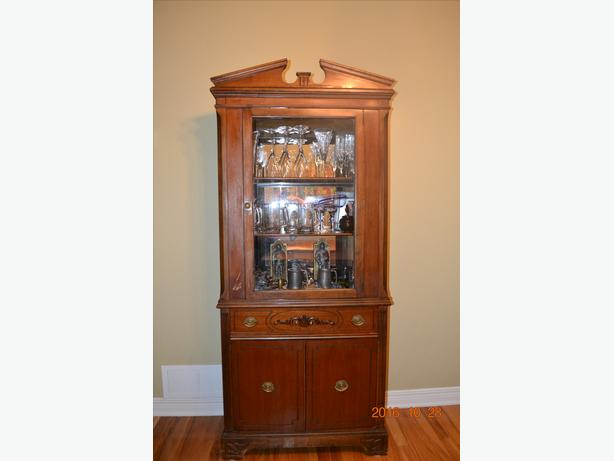 Solid Antique Mahogany Hutch with original glass and hardware.