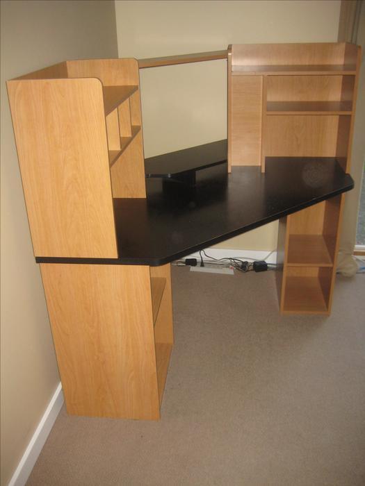 corner unit desk shelving computer area esquimalt. Black Bedroom Furniture Sets. Home Design Ideas