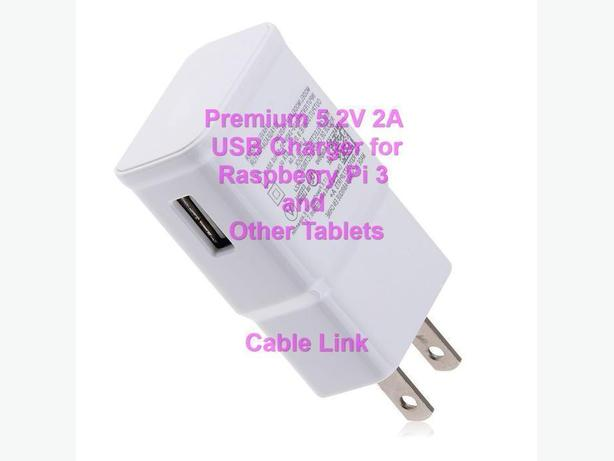 5.2V 2A 2000mA USB Charger for Raspberry Pi 3, Tablets, Phones