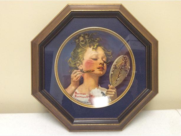 Norman Rockwell plate with frame