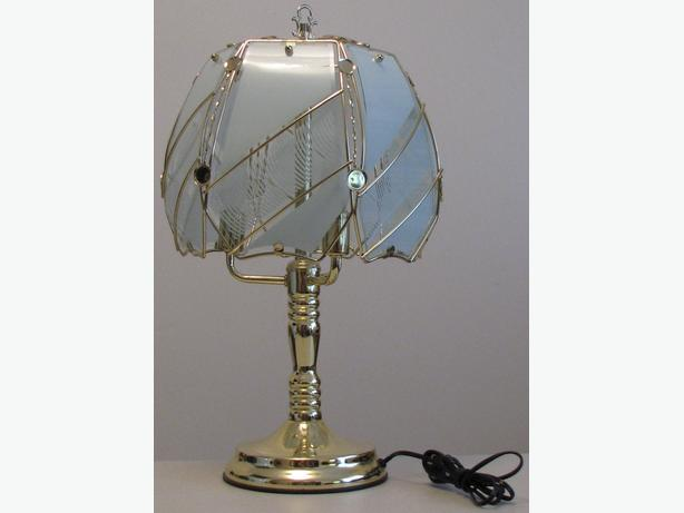 TOUCH ACTIVATED BRASS/GLASS TABLE LAMP