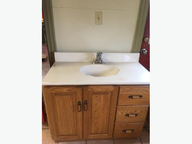 Bathroom vanity includes one piece sink countertop kensington pei Used bathroom vanity with sink