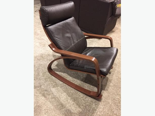 Ikea poang rocking chair with leather cushion north regina for Ikea poang leather