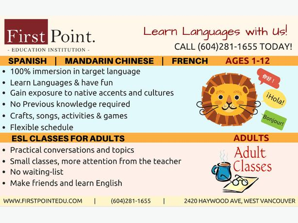 Spanish/ Mandarin Chinese/ French class at First Point Education Institution
