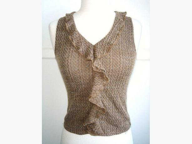 New Channel - Brown Black Knitted Tank Top / Sleeveless / Cami