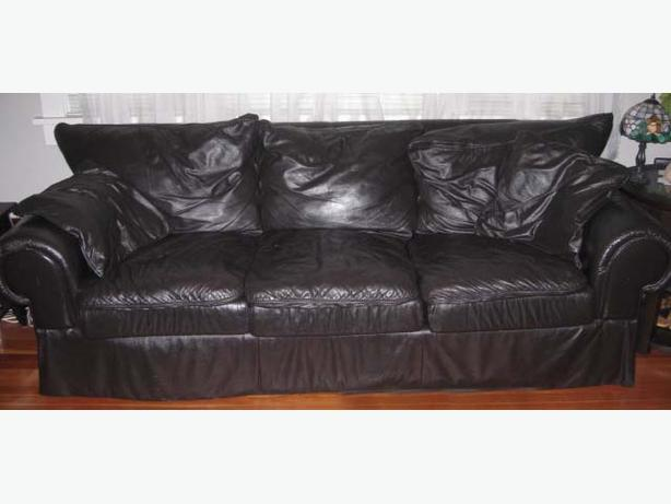 Large black real leather couch 90 inches long the best in for 90 inch couch