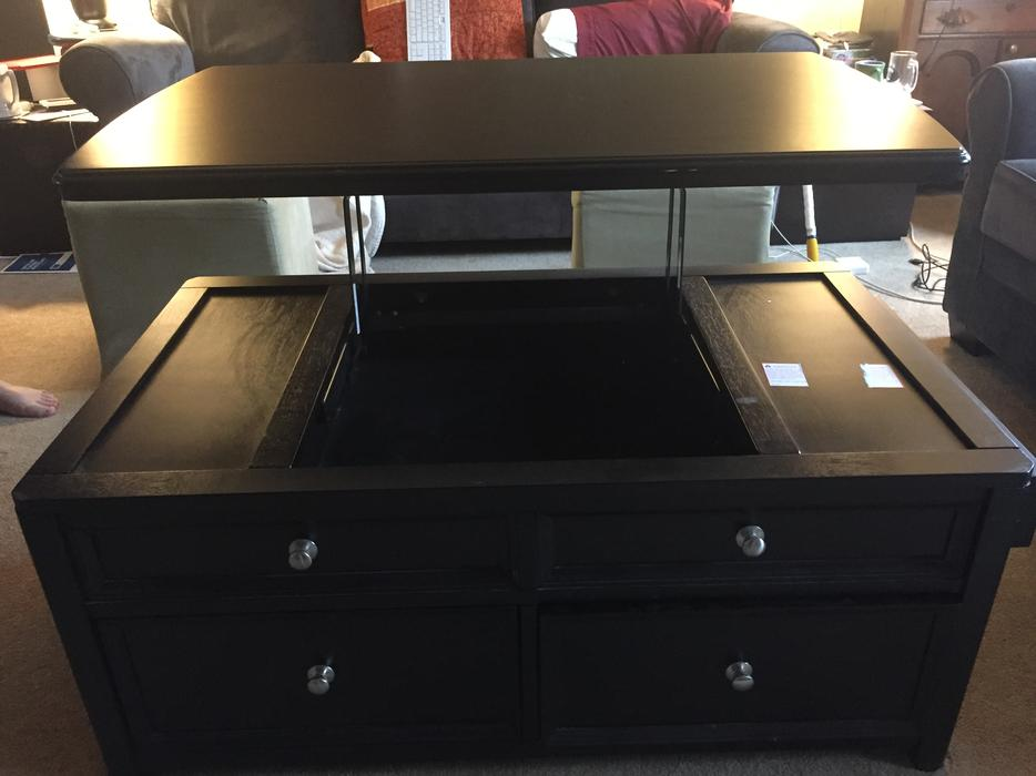 Black coffee table with lift top esquimalt view royal for Coffee tables kelowna