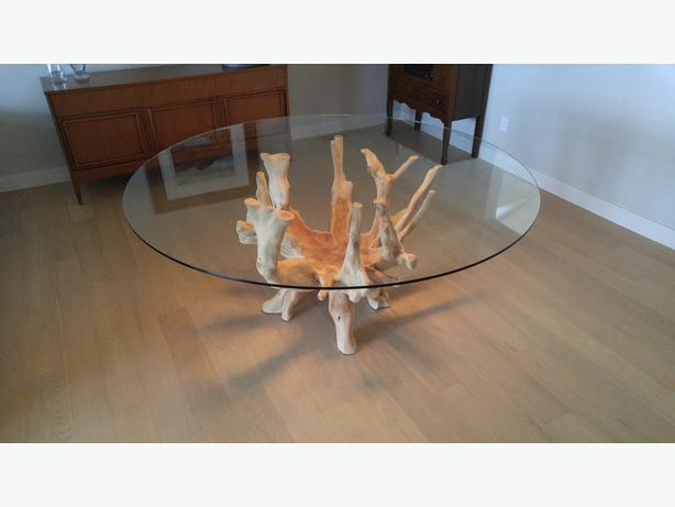 Dining Table Seats 6 Easily Teak Root Ball With 64 Quot Glass