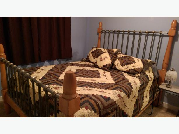 Pine iron queen bed frame with matching dresser mirror for Matching bed and dresser