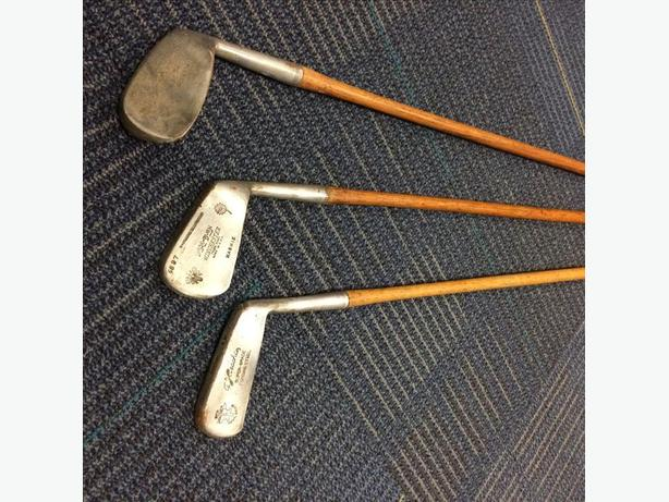 3 antique golf clubs, Mashie wooden shaft and more