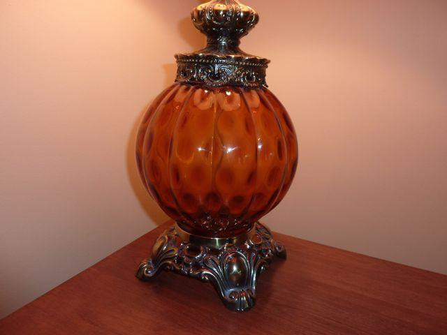 2 vintage Leviton amber glass tri light lamps - made in USA Victoria City, Victoria