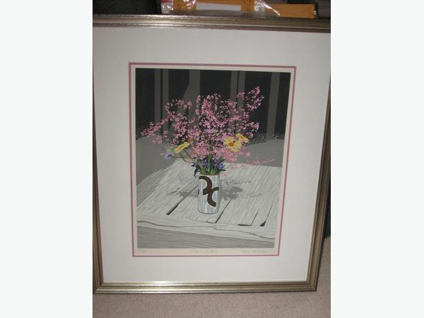 Handsigned Lithograph 'Flowers in the Barn' M. DesRochers Sooke Fine Art Gallery
