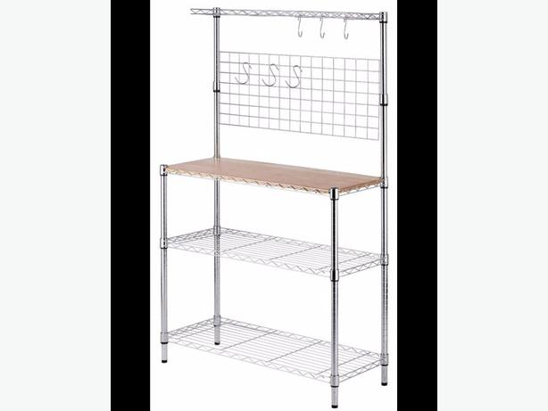 Obo Wire Baker S Rack With Butcher Block Counter